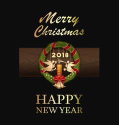 Christmas wreath 2018 vector