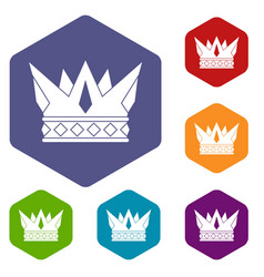 Cog crown icons set hexagon vector