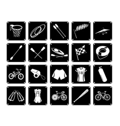 Collection of sport equipment icons on white backg vector