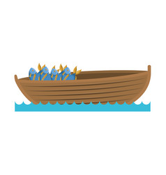 Color silhouette wooden fishing boat in lake with vector