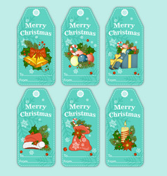 colorful holiday gift tags and outline vector image vector image