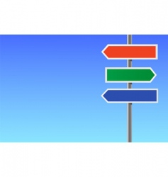 colour blank directional sign vector image vector image