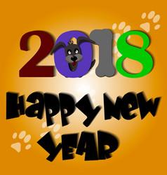 cute dog year greeting card material 2018 vector image vector image