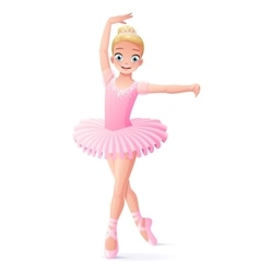 Cute smiling young dancing ballerina girl vector