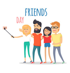 Friends celebrating friendship day concept vector