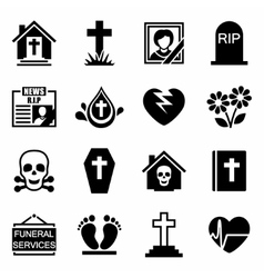 Funeral icon set vector