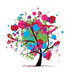 Funny grunge tree colors of summer for your design vector image