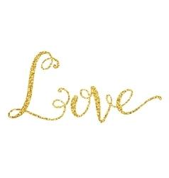 Glitter golden decorative love hand lettering vector image