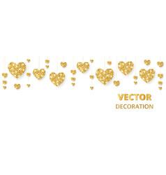 Golden hearts frame border glitter vector