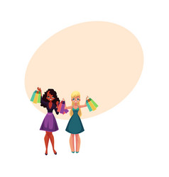 Happy black and caucasian women girls friends vector