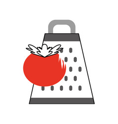 Kitchen grater with tomato vector