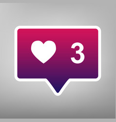 Like and comment sign purple gradient vector