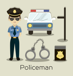 Policeman in american cop uniform vector