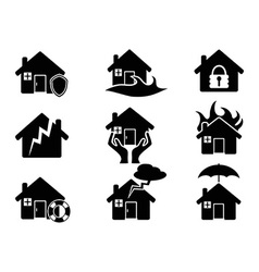 Property insurance icons set vector