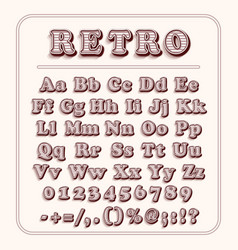 Retro font on light red background the alphabet vector