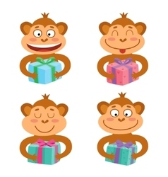 Set with monkey emotion faces with gifts vector