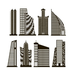 Skyscrapers icons set vector image vector image