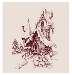 Snow castle drawing fantasy house vector