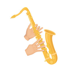 The saxophonist plays the saxophone golden vector