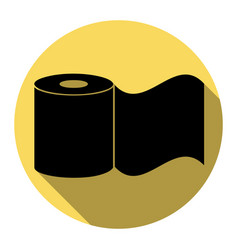 Toilet paper sign flat black icon with vector