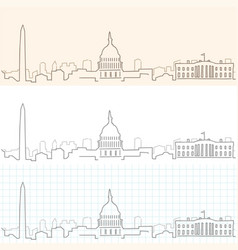 Washington hand drawn skyline vector