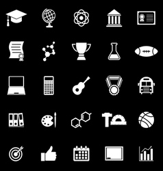 College icons on black background vector