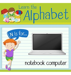 Flashcard letter n is for notebook computer vector