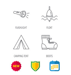 Flashlight fishing float and hiking boots vector