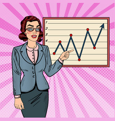 Pop art business woman showing on growth graph vector