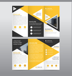 yellow triangle business trifold leaflet brochure vector image