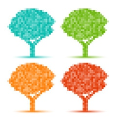 Set of season pixel trees vector