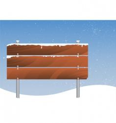 snowy wooden signboard vector image