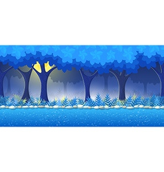 Night forest game background vector
