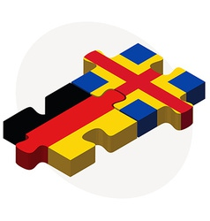 Germany and aaland islands flags in puzzle vector