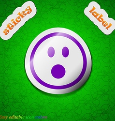 Shocked face smiley icon sign symbol chic colored vector