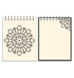 White cover notebook with handmade black pattern vector