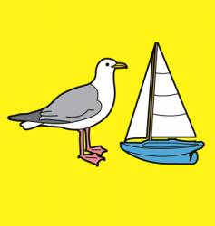 Seagull and toy boat vector