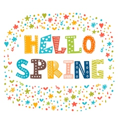Hello spring card with decorative design elements vector