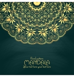 Golden mandala pattern design template vintage vector