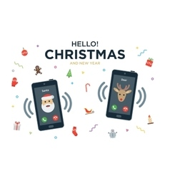 Christmas greeting card with phone call from santa vector