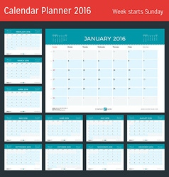 Monthly calendar planner for 2016 year design vector