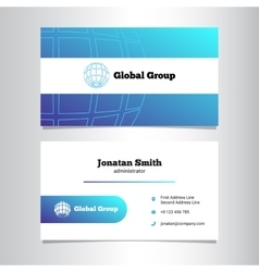 Creative business card template with globe vector