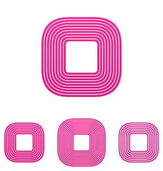 Pink line square logo design set vector