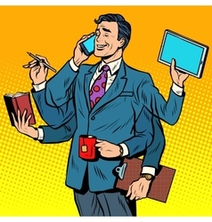 Business successful businessman multitasking vector