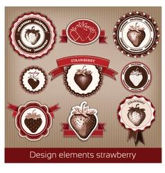 Set of vintage and modern icons of strawberries vector