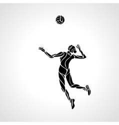 Female volleyball player stylized silhouette vector image