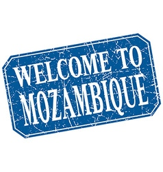 Welcome to mozambique blue square grunge stamp vector