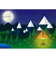 Summer campsite with a campfire vector