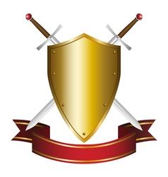 a shield and swords emblem vector image vector image
