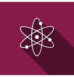 Atom icon with long shadow vector image vector image